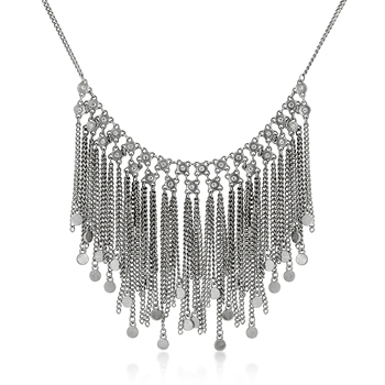 Silvertone Fringe Bib Necklace